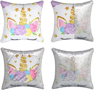 Unicorn Gifts Mermaid Throw Pillow Cover Magic Reversible Sequin Cushion Cover Decorative Pillowcase That Change Color (Si...