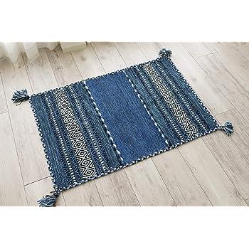 サヤンサヤン 手織り 幾何学 アジアン 玄関マット 屋内 室内 インドキリム 70x120 ブルー