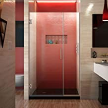 DreamLine Unidoor Plus 44 1/2-45 in. W x 72 in. H Frameless Hinged Shower Door, Clear Glass, Brushed Nickel, SHDR-244457210-04
