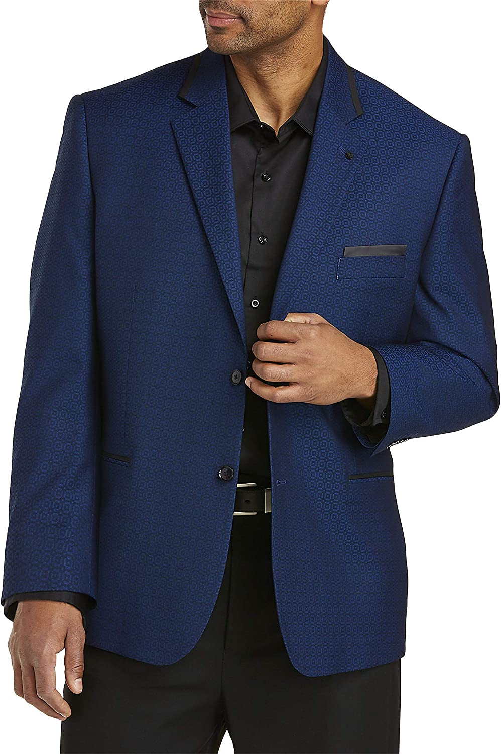 DXL Synrgy Big and Tall Jacket-Relaxer Geo-Pattern Stretch Sport Coat, Blue