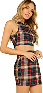 Women's 2 Piece Crop Tank Top with Skirt Set Plaid Bodycon Mini Dress
