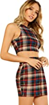ROMWE Women's 2 Piece Crop Tank Top with Skirt Set Plaid Bodycon Mini Dress