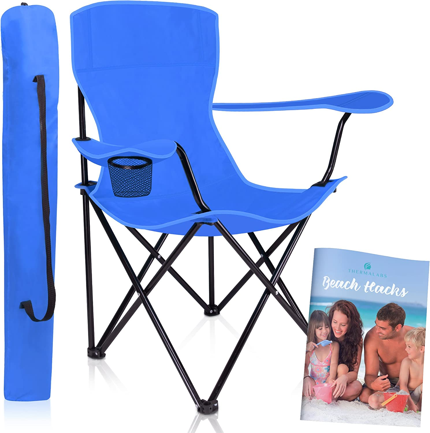 Folding Beach Chair Iris  Enjoy the Park, Garden, and Pool Side. Portable, Stylish Folding Seat with Armrests, Robust and Comfortably Padded. bluee