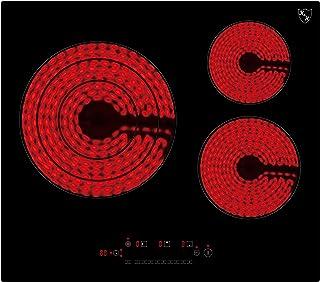 K&H® NC-6605 Plaque de cuisson vitrocéramique 3 zones 59 cm électrique autonome sans cadre