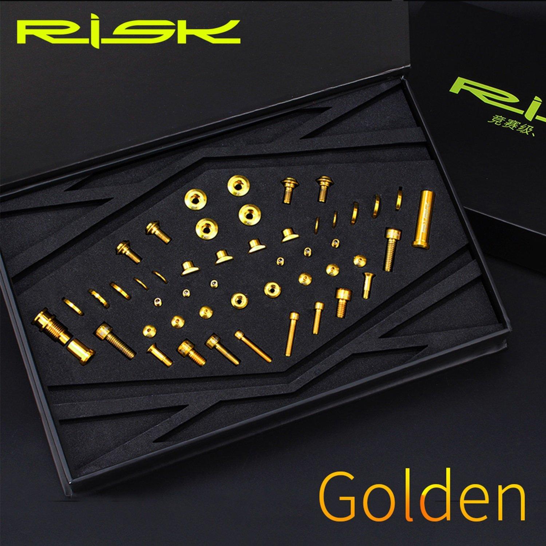 UT R8000 チタン合金 スクリューキット Cクランプフロントとリアダイヤルスクリューセット ロードバイク用, (Color : Gold)