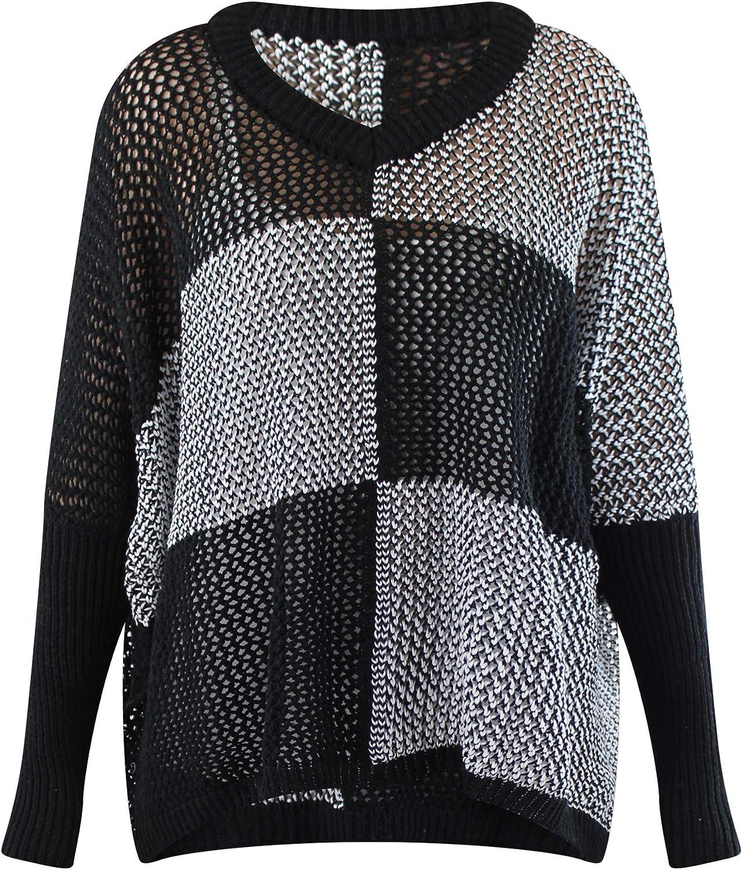 Luxury Divas Black & White Checkered Knit Shrug Pullover