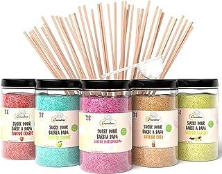 Greendoso-Sucre Barbe à Papa (5X350 Gr) = 1,750 KG (Arômes et Colorants Naturels) Fraise-Cola-Pomme-Marshmallow-Vanille + ...