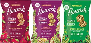POPCORNERS Flourish Veggie Crisps - Roasted Beets, Greens and Beans, Harvest Kale, Toasted Cauliflower - Variety Pack, 4.0...