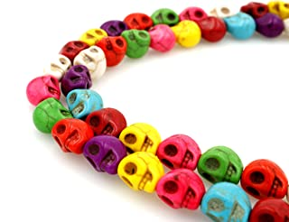 BRCbeads Nice Howlite Turquoise Loose Beads Carved Skulls Spacer Multicolor 8x10mm Approximate 15 Inch 40pcs per Strand for Jewelry Making