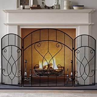 BEAMNOVA Fireplace Screen 52 Inches Wide x 30 Inches High Rustic Trifold 3 Panel Iron Mesh Vintage Art Decor