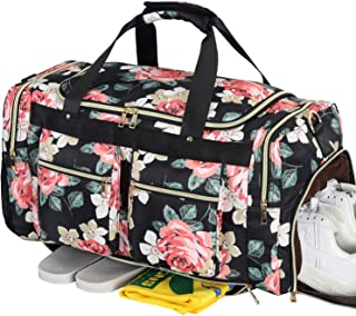 4f9fd1df1d8a Weekender Overnight Duffel Bag Shoe Pocket for Women Men Weekend Travel  Tote Carry On Bag (Floral Black)