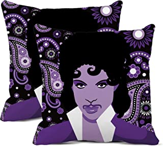 rouihot Set of 2 Throw Pillow Covers 20x20 Inch April 22 2016 Illustrative Editorial Drawing of Musical Artist Prince Neps...