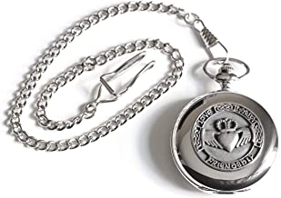 Biddy Murphy Celtic Pocket Watch Classic Style Claddagh Design Pewter Made in Ireland