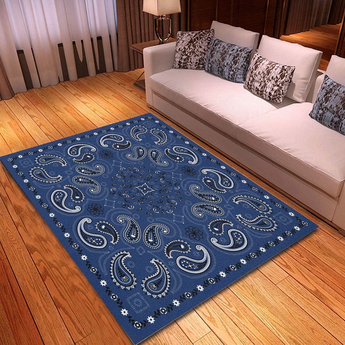 rouihot Purchase Non-Slip Area Rug 4'x 6' Pattern Super sale B Colorful Paisley Blue