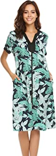 Ekouaer Robes for Women Zipper Front V-Neck Short Sleeve Floral Sleepwear with Pockets S-XXL