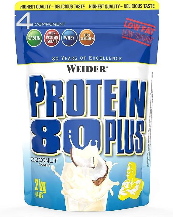 Weider Protein 80 Plus, Proteina de suero de suero de leche, Sabor Coco, 2000 gr