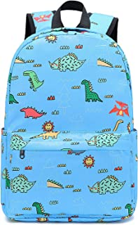 Preschool Little Kid Backpacks with Chest Strap Toddler Cute Bookbag Dinosaur Schoolbag for Boys (E0083-Light Blue)