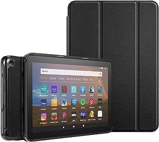 AINOYA NewモデルFire HD 8 / Fire HD 8 Plus 2020年発売 第10世代用 ケース セット 保護カバー 軽量 PUレザー製 三つ折スタンドケース 手帳型 耐衝撃 傷防止 スタンド付き (黒)