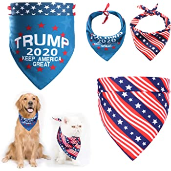 N-A 2 pcs Dog Bandana - Donald Trump America Flag Bandanas Scarfs Triangle Pet Bibs Decoration Scarf for Dog and Cat