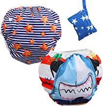Lictin 2 Pack Reusable Swim Diaper, Washable Swim Nappy Adjustable Fits for 8-36lbs Boy (0-3 Years), Premium Quality Eco-Friendly Swimwear Pool Pants with Storage Bag (Red Shark)