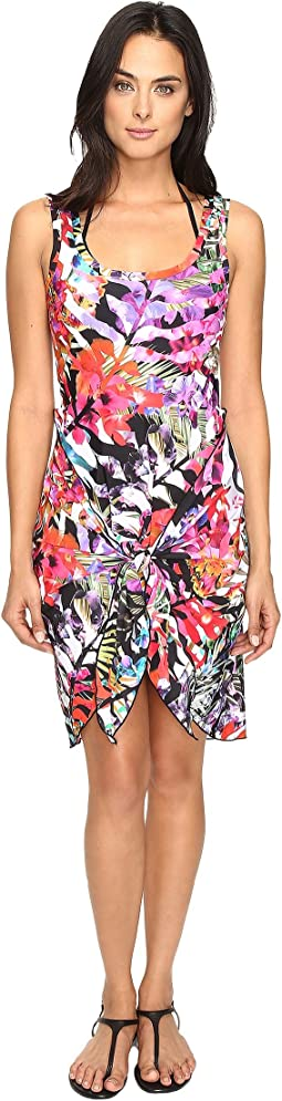 Nicole Miller - La Plage by Nicole Miller Tropical Palms Wrap Dress Cover-Up