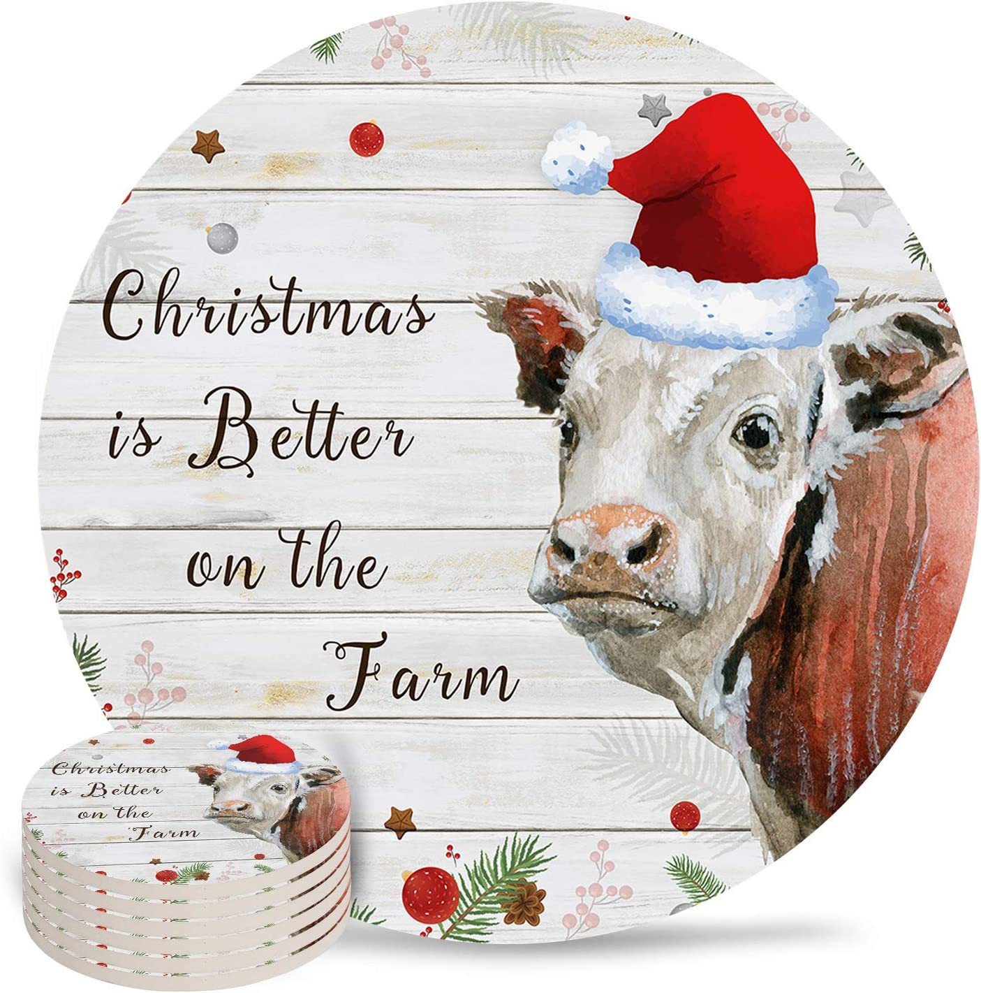 Absorbent Coaster Ceramic Stone Set of 6 Hat Super beauty product restock quality top with High material Farm Cow Red