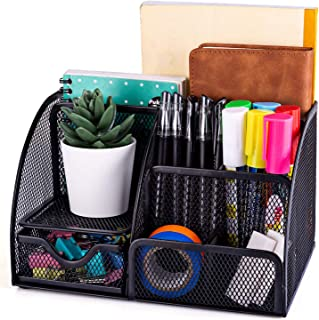 Stathm Desk Organizer Mesh Desktop Office Supplies - Multi-functional Caddy Pen Holder Stationery for Office, Home, Schoo...