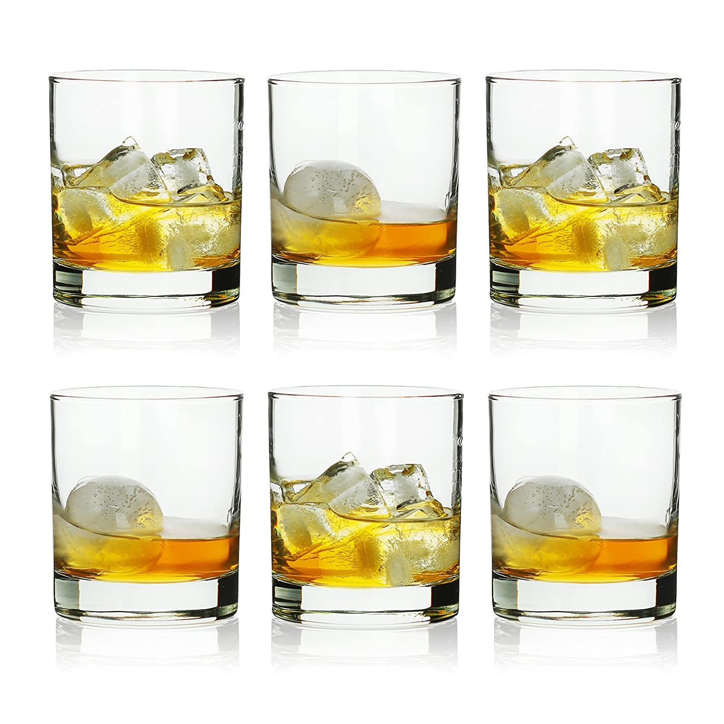 Rock Style Old Fashioned Whiskey Glasses 11 Ounce, Short Glasses For Camping/Party,Set Of 6