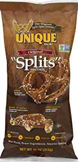 Unique Pretzels - Original Splits Pretzels, Delicious Vegan Snack Pretzels Individual Packs, Large OU Kosher Pretzels, 11 Ounce Bags, 12 Pack