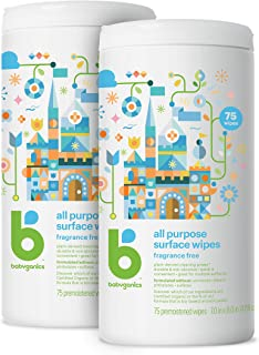 Babyganics All Purpose Surface Wipes, Fragrance Free, 150 Count (75 Count, 2 Pack), Plant Based and Non-Abrasive, No Ammon...
