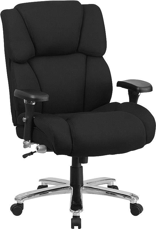 Flash Furniture HERCULES Series 24 7 Intensive Use Big Tall 400 Lb Rated Black Fabric Executive Swivel Chair With Lumbar Knob