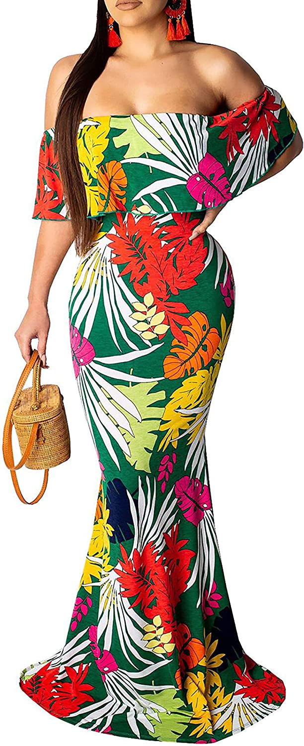 Women's Indianapolis Mall Sexy Off Shoulder Maxi Gow Floral Spring new work one after another Hawaiian Evening Dress