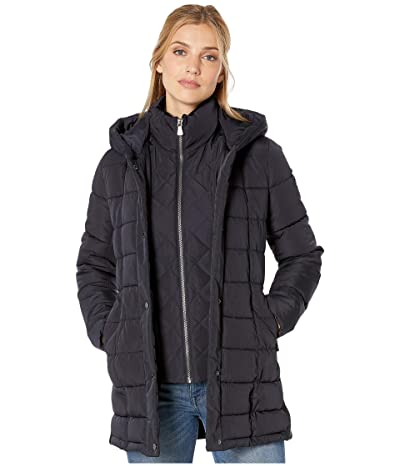 Calvin Klein Traditional Down with Bib Insert Knit Detail at Sleeve and Side Panels (Navy) Women