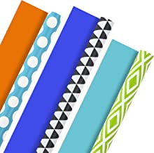 Hallmark Reversible Wrapping Paper, Brights - Green, Gray, Teal Prints & Orange, Blue, Purple Solids (Pack of 3, 120 sq. f...