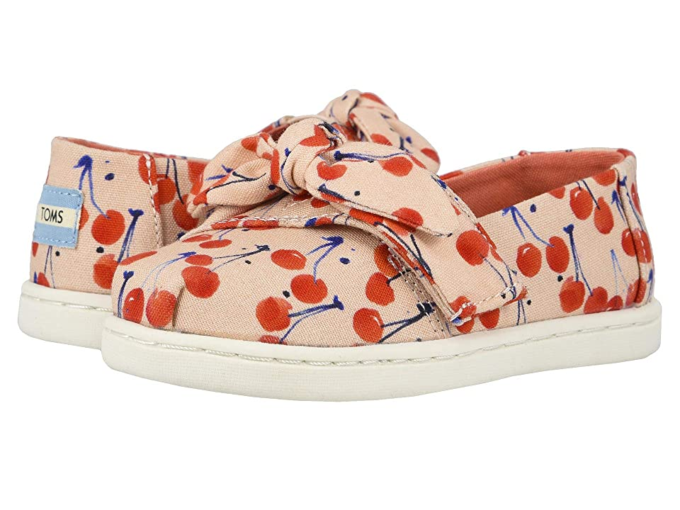 TOMS Kids Alpargata (Toddler/Little Kid) (Coral Pink Cherry Cherie Print/Bow) Girl