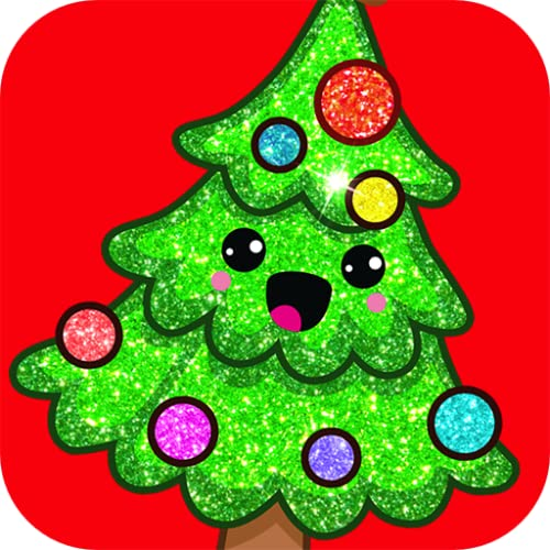 Rainbow Glitter Coloring Book Christmas