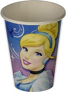 amscan Cinderella Printed Paper Cups Disney Princess Birthday Party Drinkware (8 Pack), Blue/Pink, 9 oz.