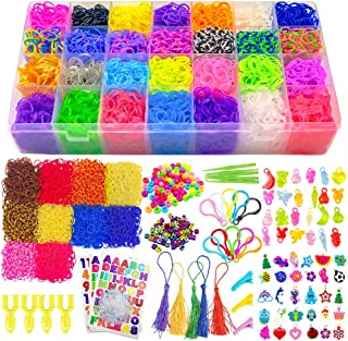 Scientoy Loom kit , 19700+ Rainbow Rubber Bands Refill Kits, Bracelet Making Kit Include:18700+ Bands in 38 Colors, 280+ PVC& ABC Beads,30 Charms 30 Transparent Charm,1000+ Accessories for Girls&Boys