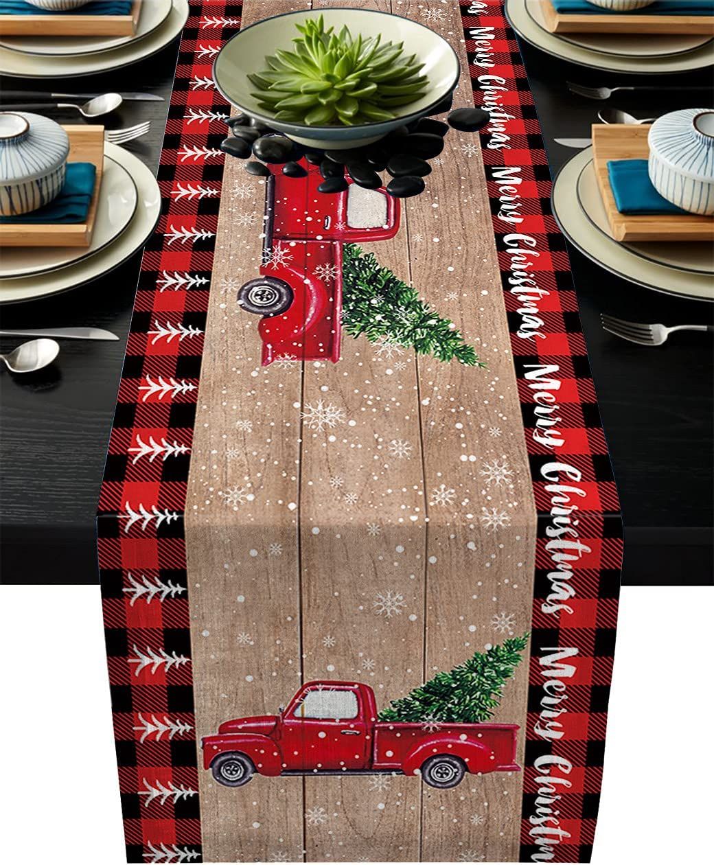 Christmas Red Truck sold Bargain out Table Check-Cotto Buffalo Plaid Runner-Black
