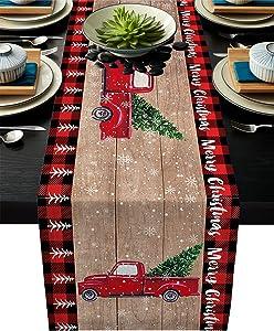 ChritsmasTableRunner13x70inKitchenCottonLinenTableRunnerFarmhouseHolidayTableRunnerforDinnerPartyWedding Christmas Truck Xmas Tree Snowflake Red Buffalo Check PlaidTableSettingDecor