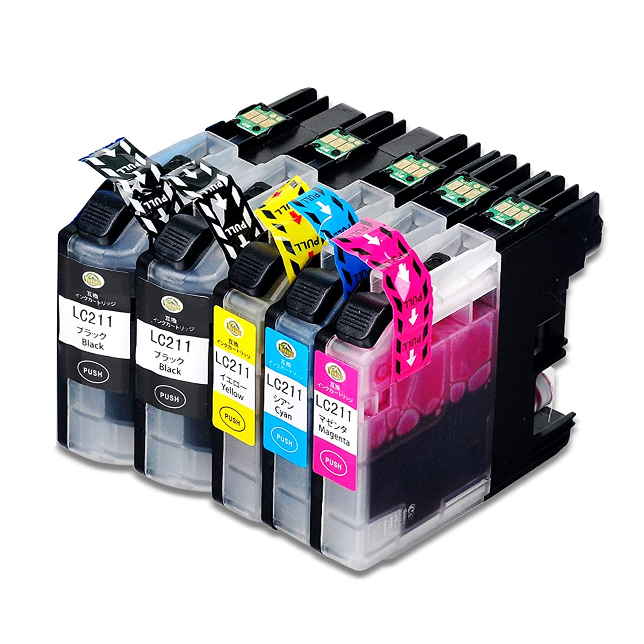 こんにちはかもしれない章Brother LC211 4色セット+1個ブラック LC211BK 合計5個 大容量 最新版ICチップ付け 高品質 ブラザー互換インクカートリッジ [YUUSHA] 対応機種:DCP-J963N DCP-J962N DCP-J762N DCP-J562N MFC-J880N MFC-J990DN MFC-J900DN MFC-J830DN MFC-J730DN MFC-J990DWN MFC-J900DWN MFC-J830DWN MFC-J730DWN