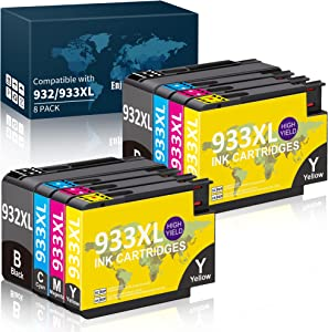 Compatible Ink Cartridge Replacement for HP 932 933 932XL 933XL, Work with HP Officejet 6600 6700 7612 6100 7610 7110 Printer (2Black, 2Cyan, 2Magenta,2Yellow)