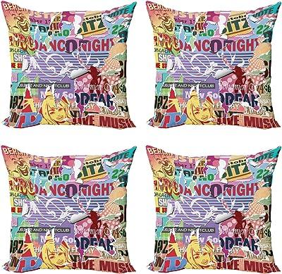 ABAKUHAUS Grunge Lot de Housses de Coussin en 4 pièces, Old Torn Effet Poster, Impression Numérique Recto-Verso Moderne, 50 cm x 50 cm, Jaune Bleu