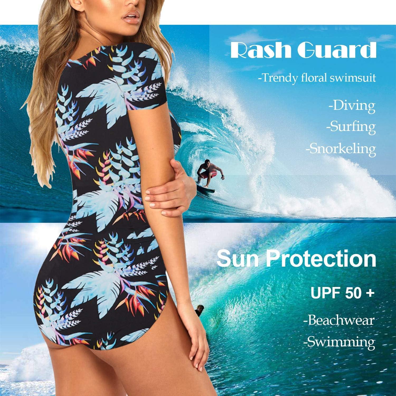Viottiset Womens Floral Swimsuit Rashguard Short Sleeve Zipper Sun Protection Surfing One Piece Bathing Suit