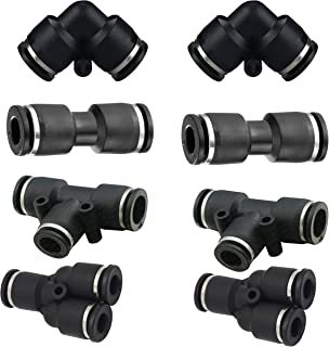 "1/4""od Push to Connect Fittings Pneumatic Fittings kit 2 Spliters+2 Elbows+2 tee+2 Straight 8pack (1/4"