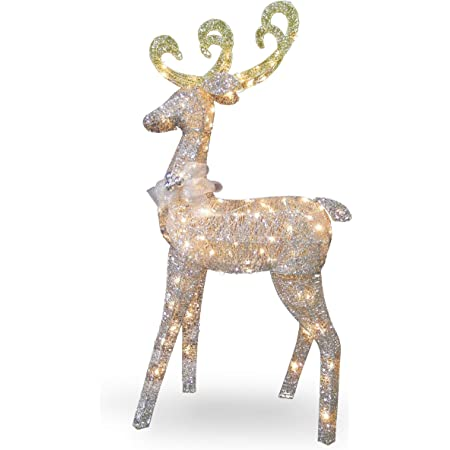 Amazon Com National Tree 60 Inch Crystal Standing Deer With 100 Clear Mini Lights Df 100064u Home Kitchen