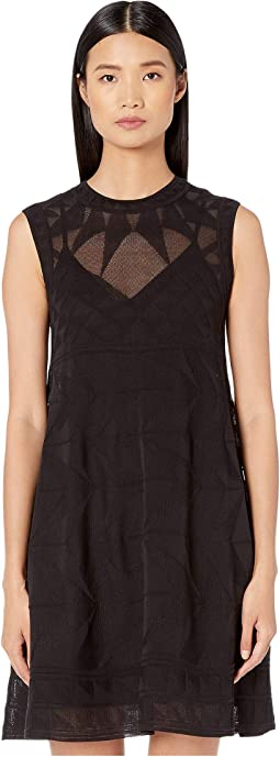 Sleeveless Short Dress in Geometric Stitch