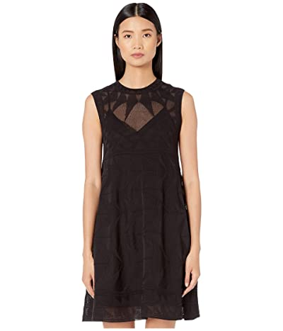 M Missoni Sleeveless Short Dress in Geometric Stitch (Black/White) Women