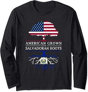 American Grown with Salvadoran Roots - El Salvador Long Sleeve T-Shirt