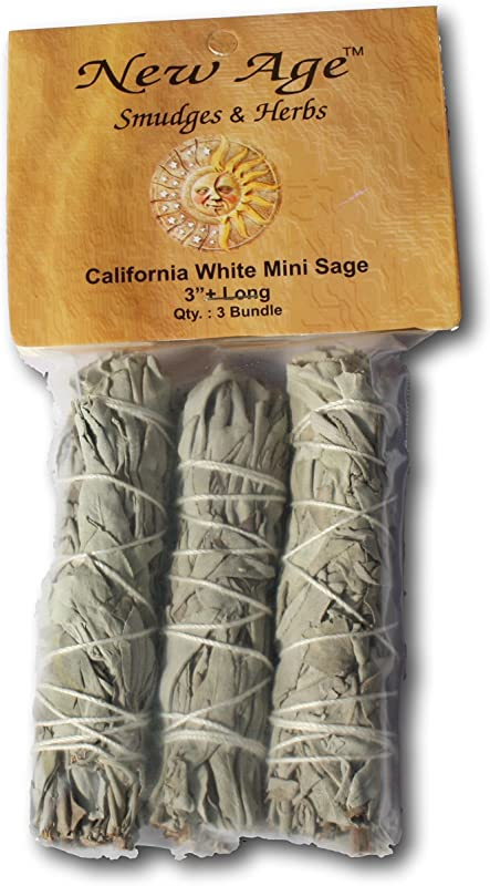 NewAge Smudges And Herbs MCWS3 California Mini Sage Wands 3 Inch Pack Of 3 White